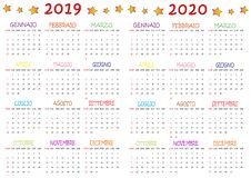 Calendario Colorato 2019-2020 per I Bambini immagine stock
