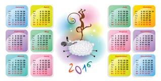 Calendario coloreado brillante para 2016 Fotografía de archivo libre de regalías