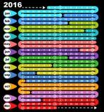 Calendario coloreado 2016 del juego de mesa Fotos de archivo