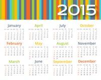 Calendario coloreado extracto 2015 años Fotos de archivo libres de regalías