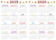 Calendario coloreado 2019-2020 para los niños stock de ilustración