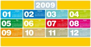 Calendario colorido 2009 Imagen de archivo libre de regalías