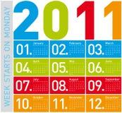 Calendario colorido 2011 Foto de archivo