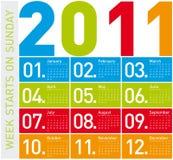 Calendario colorido 2011 Imágenes de archivo libres de regalías
