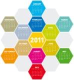 Calendario colorido 2011 de los hexágonos Foto de archivo