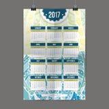 Calendario colorido 2017 de Zentangle pintado a mano en el estilo de estampados de flores y de garabato Foto de archivo libre de regalías