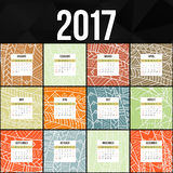 Calendario colorido 2017 de Zentangle pintado a mano en el estilo de estampados de flores y de garabato Foto de archivo
