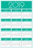 Calendario colorido del año 2019 fotos de archivo