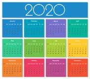 Calendario colorido del año 2020 imagen de archivo libre de regalías