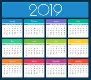 Calendario colorido del año 2019 fotos de archivo libres de regalías