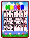 Calendario colorido del marzo de 2010 Imagenes de archivo