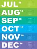 Calendario colorido para 2018 Imagen de archivo