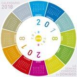 Calendario colorido para 2018 en español Foto de archivo