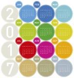 Calendario colorido por el año 2017 Imagen de archivo libre de regalías