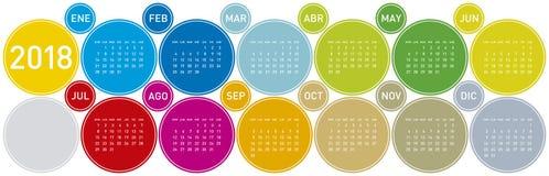 Calendario colorido por el año 2018 Comienzo de la semana en Sund Fotos de archivo libres de regalías