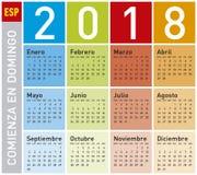 Calendario colorido por el año 2018, en español Imagen de archivo libre de regalías