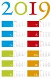 Calendario colorido por el año 2019 en formato del vector Foto de archivo
