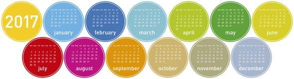 Calendario colorido por el año 2017 en un tema de los círculos, en vector Imagen de archivo libre de regalías