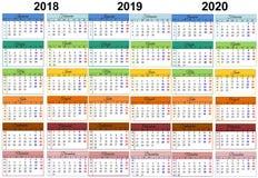Calendario colorido 2018 rumano 2019 2020 stock de ilustración