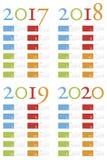Calendario colorido y elegante por años 2017, 2018, 2019 y 2020 Imágenes de archivo libres de regalías