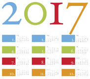 Calendario colorido y elegante por el año 2017 Foto de archivo libre de regalías