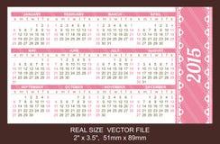 Calendario 2015, comienzo del bolsillo el domingo Imagen de archivo