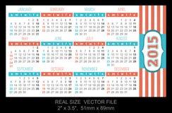 Calendario 2015, comienzo del bolsillo el domingo Fotos de archivo libres de regalías