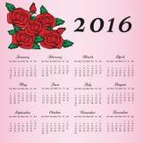 Calendario 2016 con cuore su fondo rosa Fotografie Stock