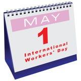 Calendario con día de los trabajadores de la fecha Foto de archivo
