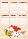 Calendario con días de semanas para la escuela Vector el horario para los niños con la sirena y la tortuga de la historieta libre illustration