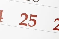 Calendario con el 25 de diciembre Fotos de archivo