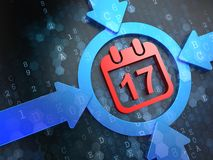 Calendario con el icono de la fecha en los antecedentes de Digitaces. Fotos de archivo