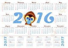 calendario 2016 con el mono de la imagen - símbolo del año Fotografía de archivo libre de regalías