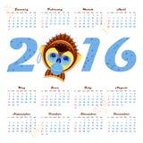 calendario 2016 con el mono de la imagen - símbolo del año Fotos de archivo libres de regalías