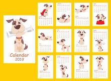 Calendario 2019 con el perro lindo ilustración del vector