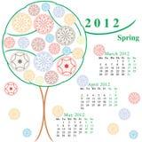 Calendario con gli alberi ornamentali Fotografia Stock