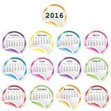 Calendario 2016 con gli autoadesivi lucidi rotondi illustrazione vettoriale