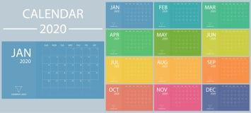 Calendario 2020 con gli inizio di settimana la domenica Scrittorio minimo della data del modello di vettore del pianificatore Org illustrazione vettoriale