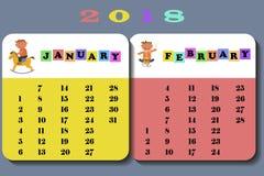 Calendario 2018 con i bambini Fotografia Stock Libera da Diritti