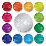 calendario 2019 con i cerchi royalty illustrazione gratis