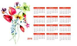 calendario 2018 con i fiori selvaggi della molla royalty illustrazione gratis