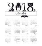 calendario 2018 con i gatti divertenti come cifre - la settimana comincia la domenica illustrazione vettoriale