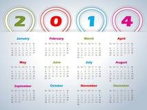 calendario 2014 con i nastri a forma di del pallone Immagine Stock