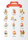 Calendario 2016 con i personaggi dei cartoni animati svegli Immagine Stock