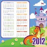 Calendario con il drago sveglio illustrazione vettoriale