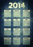Calendario 2014 con il fondo di lerciume Fotografie Stock