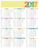 Calendario 2017 con il fronte della donna Immagine Stock Libera da Diritti