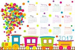 calendario 2017 con il treno del fumetto per i bambini Immagini Stock