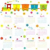 Calendario 2016 con il treno ed i fiori del giocattolo illustrazione di stock