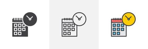 Calendario con l'icona dell'orologio illustrazione vettoriale